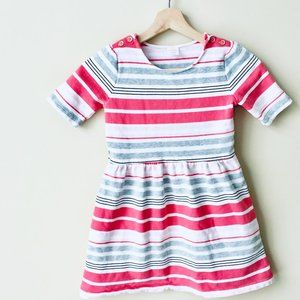 Gymboree Coral and Grey Striped Jersey Dress